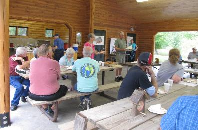 Annual membership meeting in picnic shelter