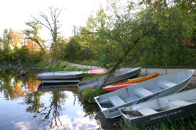 Boats and canoes for rent at Beers Lake
