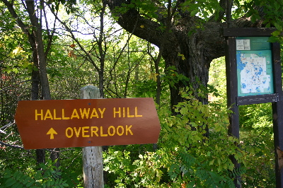 Trail sign at Hallaway Hill